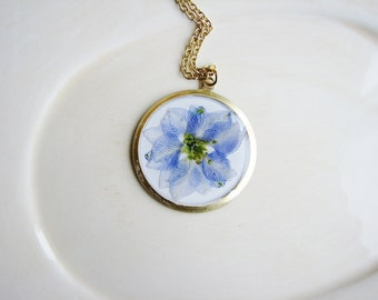 Blue Larkspur Necklace, Blue Flower Necklace, Pressed Flower Necklace, Botanical Necklace, Floral Jewelry