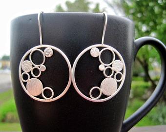 Bubble Hoop Earrings- Sterling Silver, Metalwork