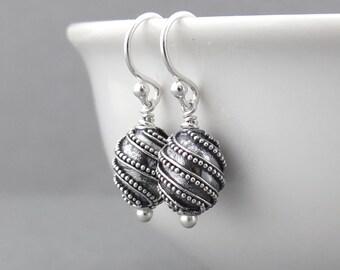 Silver Bead Earrings Silver Dangle Earrings Tiny Silver Earrings Everyday Jewelry Geometric Jewelry Modern Jewelry - Modern Edge