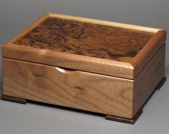 Beautifully Handmade Keepsake Box with Exotic Wood Tops