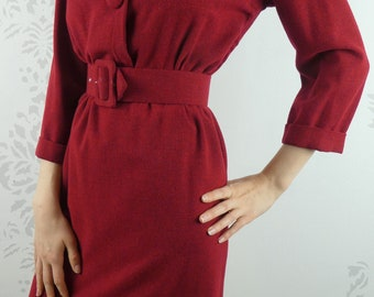 VINTAGE RED DRESS 1950s Wool Buttons Belt Size Small