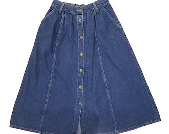 Vintage Long Denim Button Up Skirt Size S
