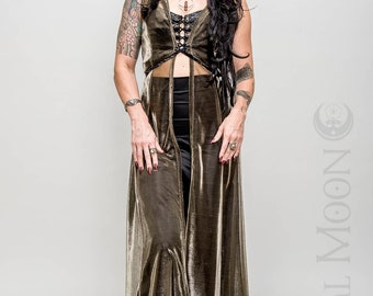 "Limited Edition: The ""Sorceress Duster"" Long Vest with Amulet on Hood in Gold or Silver Sheer Mesh by Opal Moon Designs (Sizes S-XL)"
