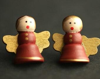 Angel Earrings. Rustic Earrings. Wood Angel Earrings. Christmas Earrings. Bronze Post Earrings. Holiday Earrings. Christmas Jewelry.