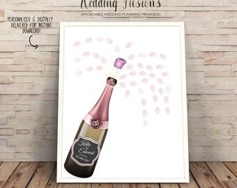 guestbook alternative, guestbook printable, Wedding decor, wedding champagne, Wedding Guest Book, Wedding ideas, pink champagne bottle
