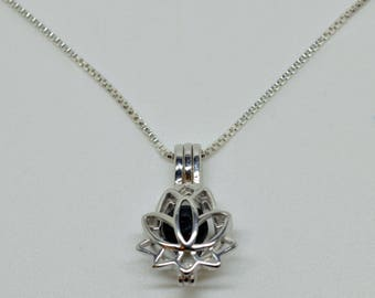 Silver Lotus Flower Pendant   Jewelry locket Sterling Silver Lotus flower   Lotus Cage Pendant S925    Lava With Silver Chain   Aromatherapy