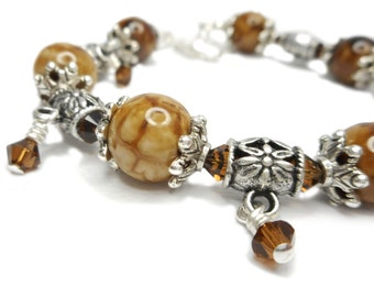 Woodland Gems - Chunky Brown Fire Crackle Agate Stone and Swarovski Crystal Dangle Bracelet