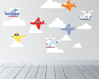 Transportation Wall Decals, Airplane Wall Decals, Kids Wall Decal, Wall Decal Nursery, Nursery Wall Decal, REMOVABLE and REUSABLE