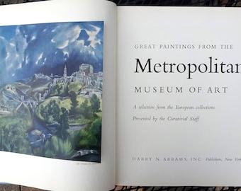 "Vintage ""Great Paintings of the Metropolitan Museum of Art"" hardback coffee table book published by Harry N. Abrams, Inc., New York ©1959"