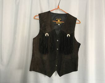 Brown Suede Vest Fringe Vintage Distressed Leather Women's XS or Small