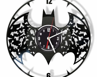 Batman silent wall clock made from real vintage vinyl record GIFT for your friends and relatives for any occasion home decor