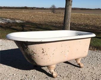 5' Porcelain Claw Foot Bath Tub Vintage Art Deco Nouveau Victorian Cast Iron q