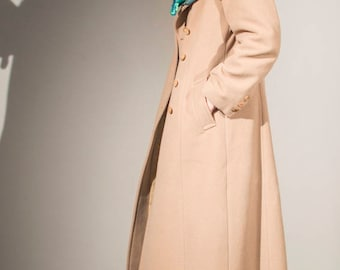 vintage 90s camel double breasted princess maxi overcoat UK10 EUR36