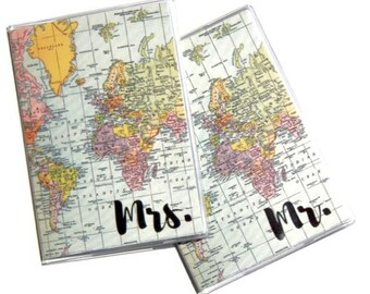Passport Covers (2) - Mr and Mrs. Wedding Gift, Passport Holder, Honeymoon Gift, Passport Case, Wedding Shower Gift, Destination Wedding