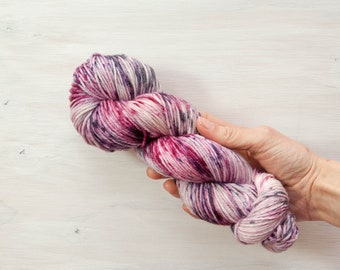 Hand dyed yarn, merino yarn, nylon yarn, dk yarn, hand dyed dk yarn, speckled yarn, purple yarn, grey yarn, pink yarn, dk yarn