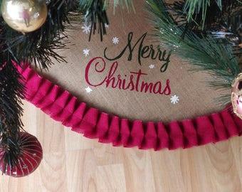 merry christmas red ruffle traditional design large jute christmas tree skirt cover christmas tree skirt xmas tree cover - Christmas Tree Skirts Etsy