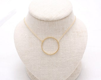 Large Open Circle Pendant Necklace, gold, rose gold, silver