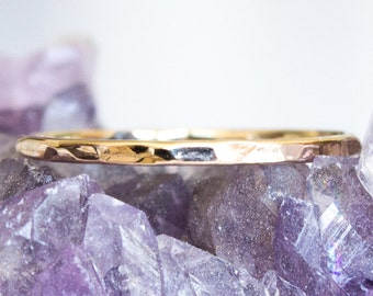 Solid 14k Hammered Thin Gold Stack Ring Sz 3 thru 8