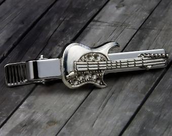 Guitar Tie Clip - Guitar Tie Bar -  Mens Accessories - Wedding - Gifts for Him - Groomsmen Gift - Groom Gift - Guitar - Mens Jewelry - Music