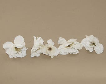 5 Cream Ash Lace Blossoms - Artificial Flowers, Silk Blossoms
