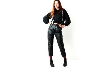 90s Leather Pants / Women Leather Pants / Real Leather Trousers / Short Pants / Cigarette Pants / Pleat Front Pants / Size S / 36