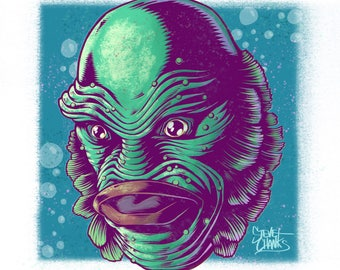 CREATURE from the BLACK LAGOON - Monster Head Print