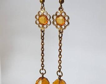 Vintage Topaz Glass Bead Flower Earrings Long Drop Dangle Design