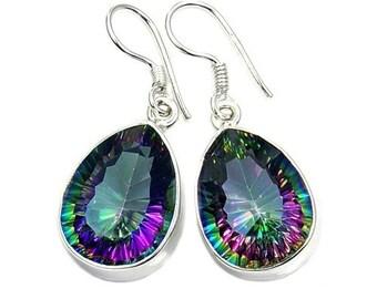 Dazzling Mystic Topaz Earrings & .925 Sterling Silver Dangle Earrings ; AC72 The SIlver Plaza