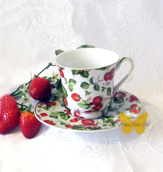 Strawberry Teacup and Saucer