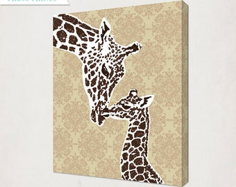Giraffe Nursery Wall Art Canvas // Browns and Tans for a boy's or girl's nursery // Mom and Baby Giraffe Canvas// Baby Nursery Canvas