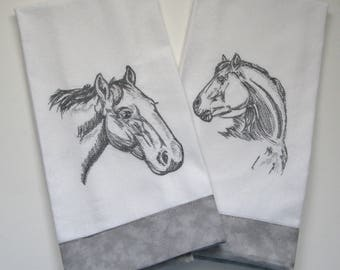 Embroidered Horse Head Sketches Set of 2, Tea Towel, Dish Towel, Kitchen Towel