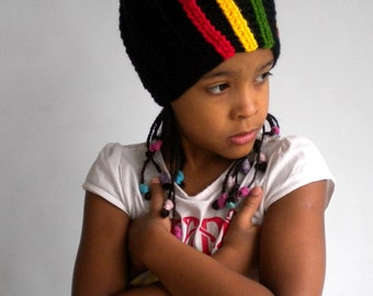 Slouchy hat with side rasta stripes, boho hat, rastafari accessories, surf beanie