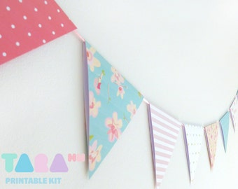 DIY Paper Bunting, Paper Garland, Set of 8, Printable Wall Decor, Baby Shower,DIY Shabby Chic Paper Craft, TaraBunting,  Instant Download