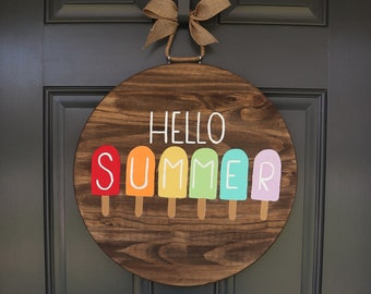 Summer Door Hanger, Door Hanger, Spring Door Hanger, Front Door Decor, Welcome Door Hanger, Popsicle Door Hanger, Hello Summer Door Hanger,