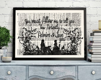 Jane Austen, Pride and Prejudice, Literary Quotes, Jane Austen Quote, Literary Gift Print, Mr. Darcy