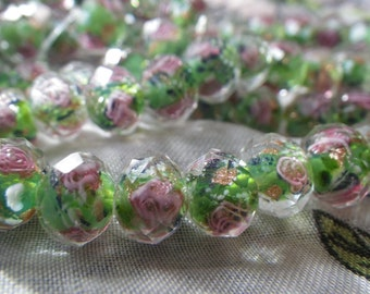 Green Wedding Cake Lampwork 10x7mm Fire Polished Rondelle Beads 15 Pcs