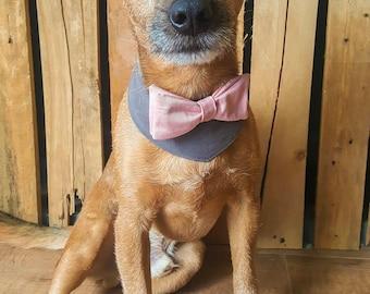 Dog wedding attire. Dog costume. Dog bow tie. Dog Outfit. Dog  bandana. Dog collar. Dog Wedding bandana. Dog tuxedo. Pink & Grey Dog Collar