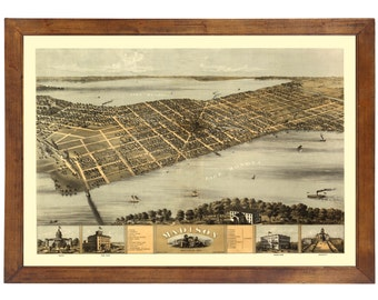Madison, WI  1867 Bird's Eye View; 24x36 Print from a Vintage Lithograph