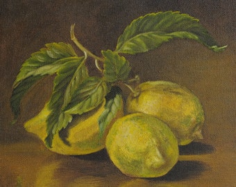 Original Oil painting still life handmade Lemons