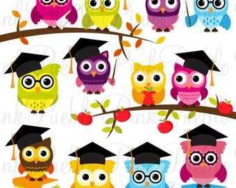 Cute Back to School Owls Clipart Clip Art, Wise School Owl Clip Art Clipart Vectors - Commercial and Personal