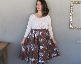 upcycled dress fun clothes Bohemian recycled clothing Shabby chic circle skirt spring dress X Large lace Boho reclaimed LillieNoraDryGoods