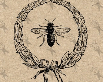 Vintage Bee Ornate Frame Instant Download Digital printable clipart graphic Burlap Fabric Transfer Iron On Pillows T-shirt etc HQ 300dpi