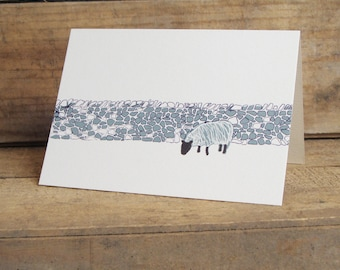 Drystone wall and sheep Card