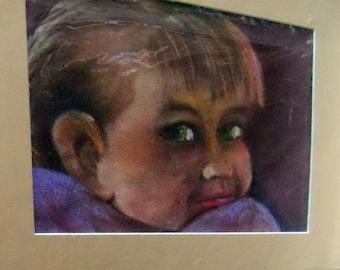 original art color pencil portrait drawing 11x14 little girl
