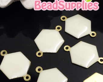 CH-EX-08086OW - Raw brass, Hexagon connector, off white, 6 pcs