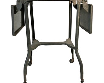 Vintage INDUSTRIAL TYPEWRITER TABLE drop leaf metal mid century plant stand steampunk loft stand green architectural salvage double rolling