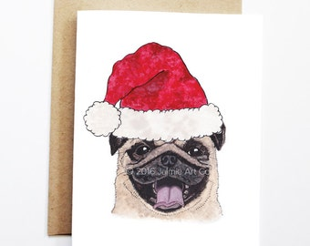 Christmas Card - Pug, Dog Christmas Card, Cute Christmas Card, Holiday Card, Xmas Card, Seasonal Card, Christmas Card Set