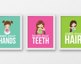 Girls bathroom rules, brush your teeth, wash your  hands, brush your hair, hygiene prints, bathroom decor, kids bathroom posters, BE-3101