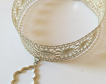 Silver Lace Choker Necklace with Charm   Silver Choker   Choker with Charm