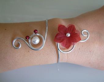 Burgundy/Red/ivory/cream/white bracelet off-white/silver aluminum p dress bridal/wedding/party/ceremony/cocktail flower/bead (cheap)